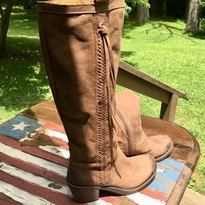 Nearly NEW Distressed Vathora Brown Leather Boots